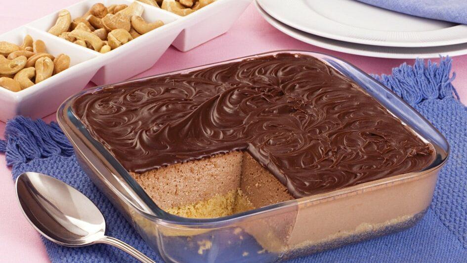 Receita de cheesecake de chocolate de travessa