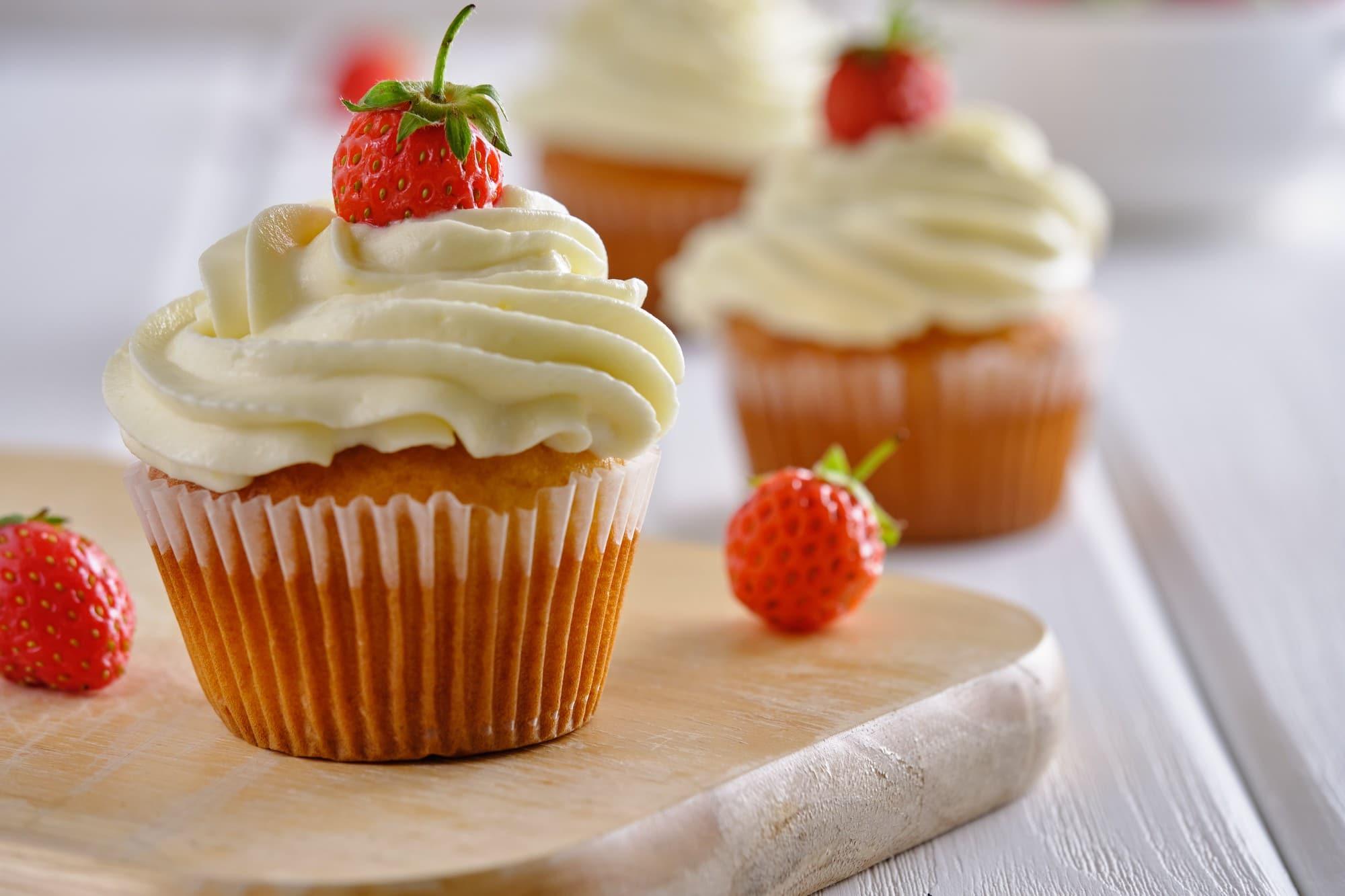 Receita de cupcake de morango com chantilly